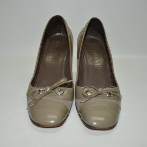 Chanel Authentic Taupe Bow Pumps Size 37
